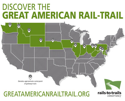 Rails-to-Trails Conservancy (RTC), the nation's largest trails organization, has announced its vision for the Great American Rail-Trail, an unprecedented commitment to creating an iconic piece of American infrastructure that will connect nearly 4,000 miles of rail-trail and other multiuse trails from Washington, D.C., to Washington State. Learn more at www.greatamericanrailtrail.org.