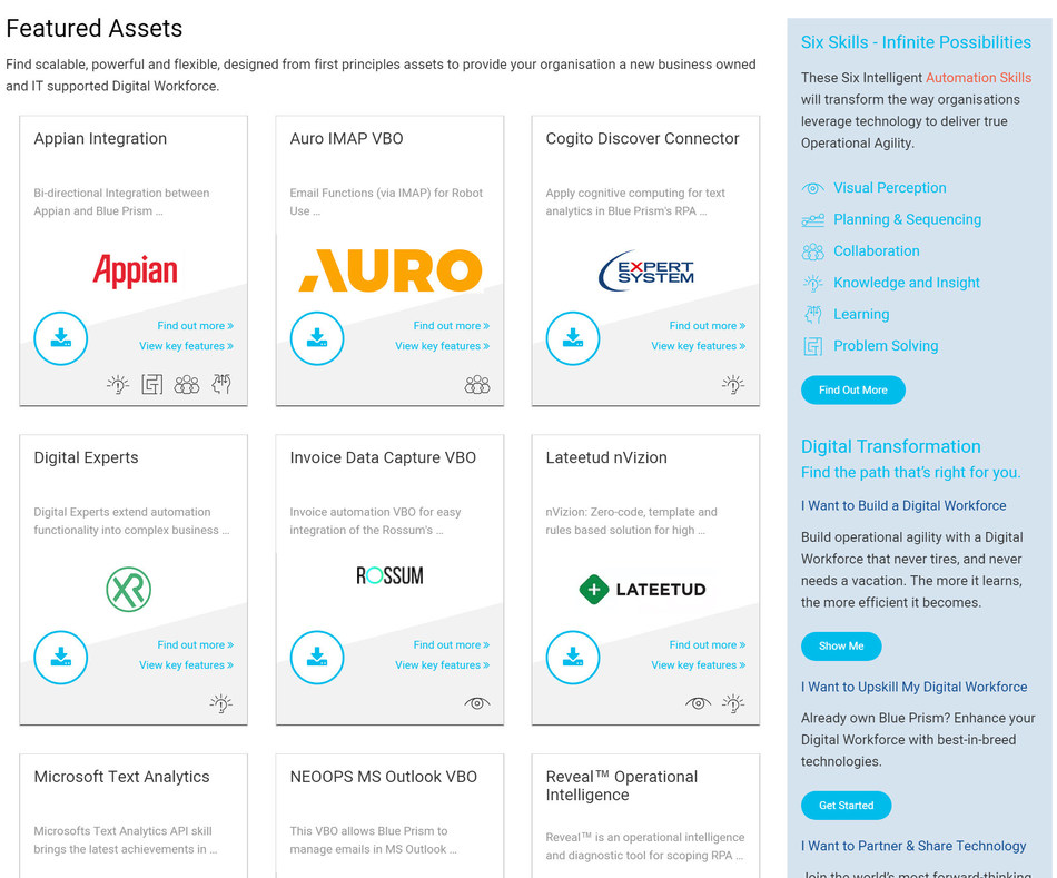 The Blue Prism Digital Exchange gives customers a one-stop shop and direct access to artificial intelligence (AI), cognitive and disruptive technologies, helping deliver intelligent automation capabilities with just a few clicks of a mouse.