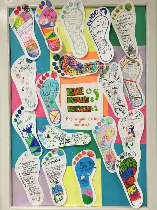 Student footprints highlighting their energy conservation messages (CNW Group/Royal Canadian Geographical Society)