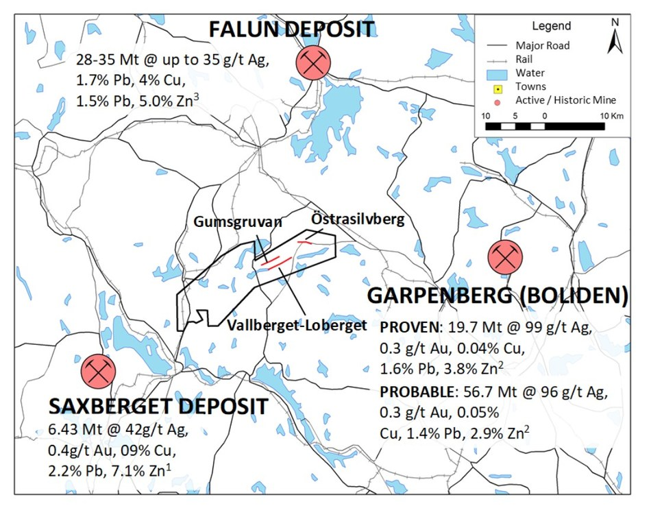 Figure 1. The Gumsberg License is situated in the highly prospective base and precious metal rich Bergslagen District of southern Sweden. (CNW Group/Boreal Metals)