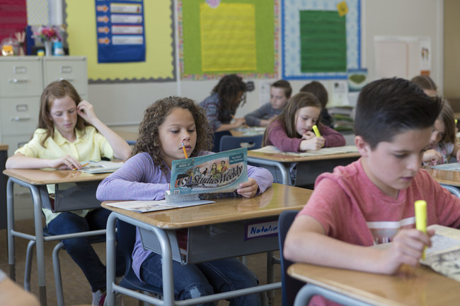 Students use Studies Weekly Social Studies curriculum