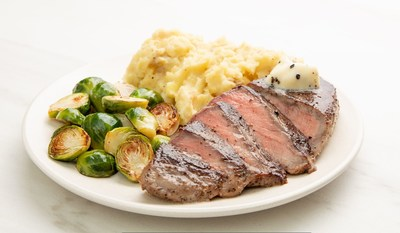 Truffle Butter Sirloin Steak with Parmesan Mashed Potatoes & Crispy Brussels Sprouts