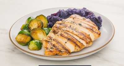 Garlic Herb Chicken with Purple Smashed Potatoes & Crispy Brussels Sprouts