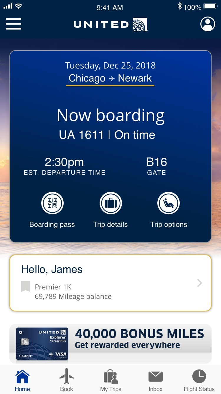 United app updates throughout each step of the travel journey.
