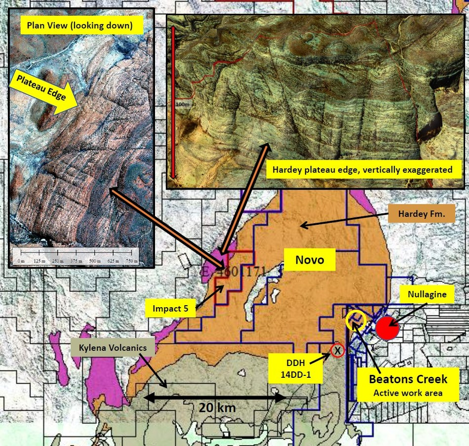 Figure 4. Location, geology and stratigraphic position of Pacton's Impact 5 tenement. (CNW Group/Pacton Gold Inc.)