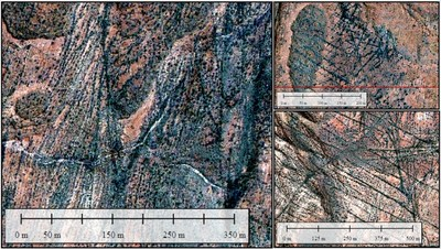Figure 5. Selected images of Impact 5 locations showing intense, fractal, low-displacement faults and fractures. (CNW Group/Pacton Gold Inc.)