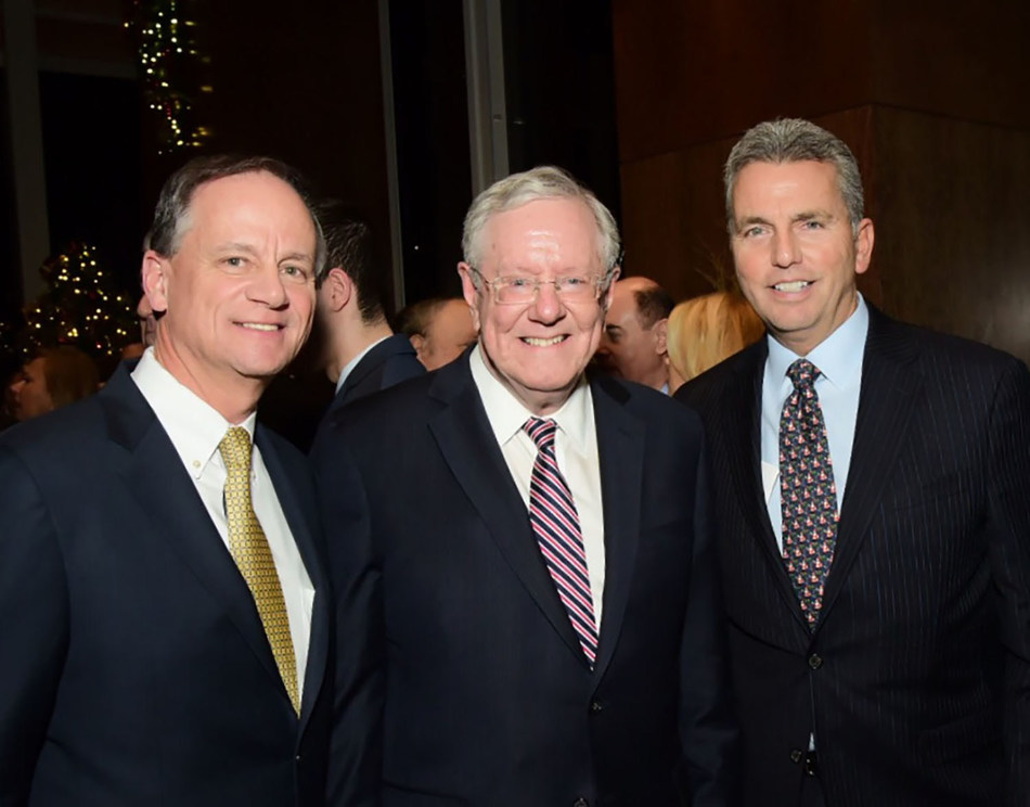 """(L-R): John Greed, Chairman, President and CEO, Mutual of America; Steve Forbes, Chairman and Editor-in-Chief, Forbes Media; and William Rose, Senior Executive VP and CMO, Mutual of America, at recent event hosted by Mutual of America for """"In Money We Trust?""""  Photo Credit: Ben Asen."""