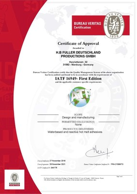 H.B. Fuller IATF 16949 compliance certification