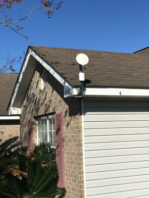 A home in the Landon Place subdivision just outside the city of Gulfport, Miss. with a 5G millimeter wave 28 GHz fixed wireless antenna. C Spire and Phazr, the company's partner and 5G millimeter wave innovator, launched the first commercial service in Mississippi early last month.