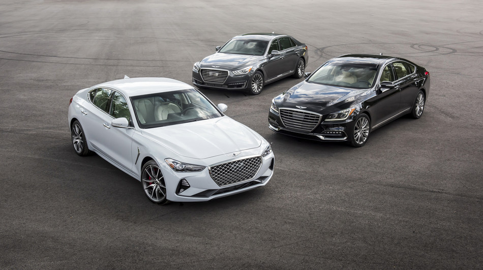 Genesis G70 (left front), G80 (right middle) and G90 (center rear) luxury performance sedans.