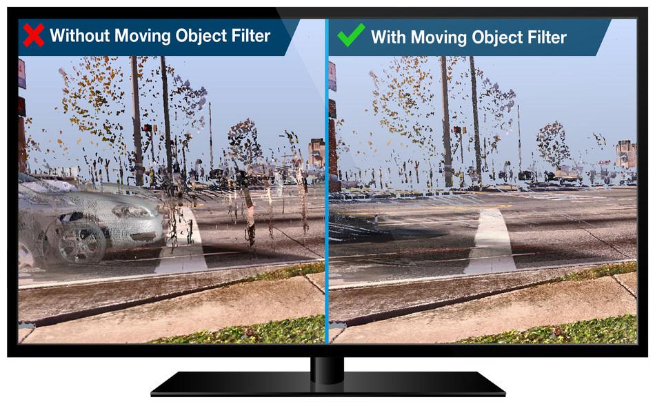 Reduzca significativamente la necesidad de limpieza con el innovador filtro Moving Objects de FARO.