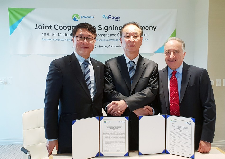 Pictured is SeYong Jang Gumi's Mayor, Dr. Ben Song the Director of GERI and Shawn Moaddeb the Founder & Chairman at Adventus Ventures as they commemorate the agreement signing.