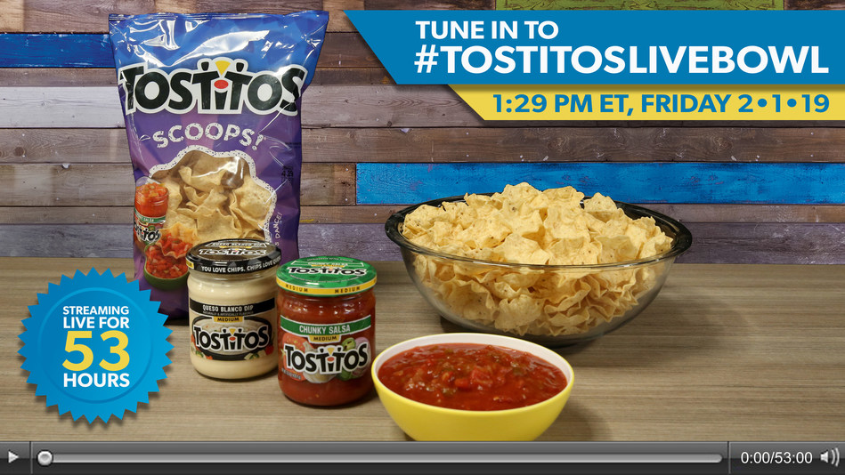 TOSTITOS TO SET THE (UNOFFICIAL) WORLD RECORD FOR THE LONGEST LIVESTREAM OF A TORTILLA CHIP BOWL
