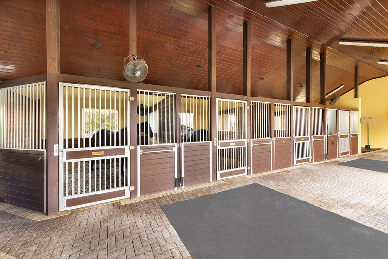 A 12-stall barn features brick aisles, tongue-and-groove ceilings and a fly-deterrent system, in addition to separate laundry, feed & tack rooms. There are also 8 large paddocks on site. More at WellingtonLuxuryAuction.com.