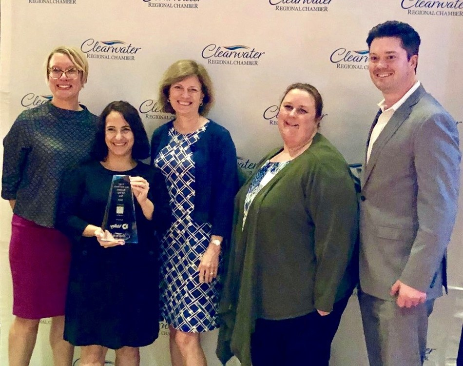 Ultimate Medical Academy received the 2019 Large Not-For-Profit Business of the Year Award last night at the Clearwater Regional Chamber of Commerce's 97th Annual Meeting and Awards Dinner. UMA leaders accepting the award include Associate Director of Continuing Medical Education and Strategic Initiatives Leia Bell, Clearwater Campus Director Dr. Rebecca Sarlo, Senior Director of Communications Martha Monfried, Manager of Student Finance Jill Sellers, and Executive Vice President Geordie Hyland.
