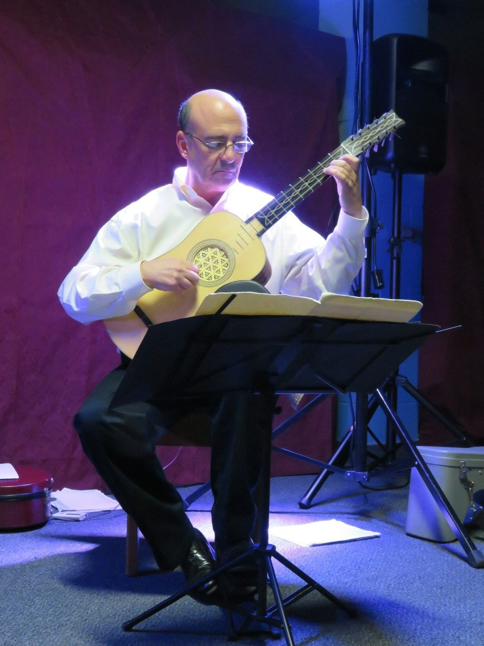 Harris Becker, founder and director of the Long Island Guitar Festival, held since 1993 at Long Island University, performs here on a baroque guitar.