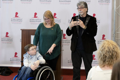 St. Jude patient Caleb and his mother Kelly help honor musician Randy Owen for his dedication to the life-saving mission of St. Jude Children's Research Hospital with a plaque naming a room in his honor during a press conference at the Country Cares seminar at St. Jude Children's Research Hospital on Friday, January 25, 2019.