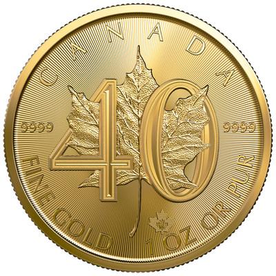 Moeda de barra de ouro com folha de bordo da Casa da Moeda Real Canadense comemora 40 anos