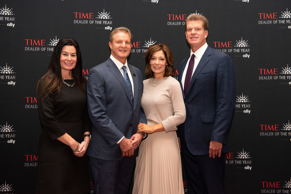 Ally executives honor the 2019 TIME Dealer of the Year John Alfirevich, of Apple Chevrolet in Tinley Park, Ill., at the NADA Show in San Francisco. From left to right, Andrea Brimmer, chief marketing and public relations officer for Ally; Alfirevich, dealer principal of Apple Chevrolet and his wife Christine Alfirevich; and Doug Timmerman, president of Auto Finance for Ally, celebrate Alfirevich's outstanding contributions to his community.