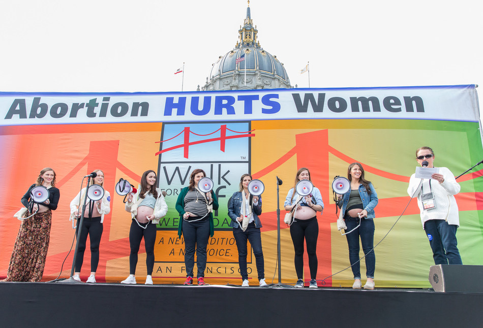 Seven pregnant women broadcast their babies' heartbeats to an entranced crowd at Walk for Life West Coast. (Photo by: Jose Luis Aguirre/Walk for Life West Coast.)