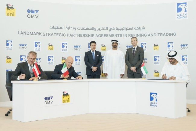 H.H. Sheikh Mohamed Witnesses Signing of Landmark Strategic Refining and Trading Partnership Agreements Between ADNOC, Eni and OMV