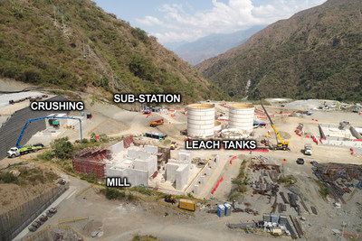 Figure 2: View of Crushing Station, Mill, Leach Tanks and Sub-Station (CNW Group/Continental Gold Inc.)