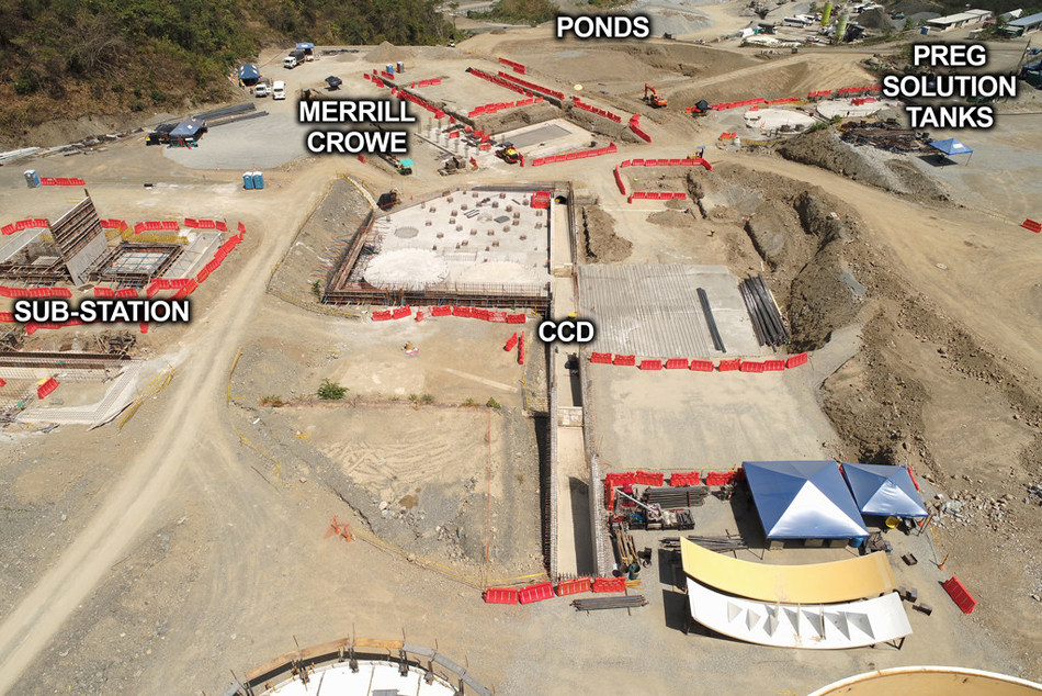 Figure 3: View of Sub-station, CCD, Merrill Crowe, Ponds and Preg Solution Tanks (CNW Group/Continental Gold Inc.)