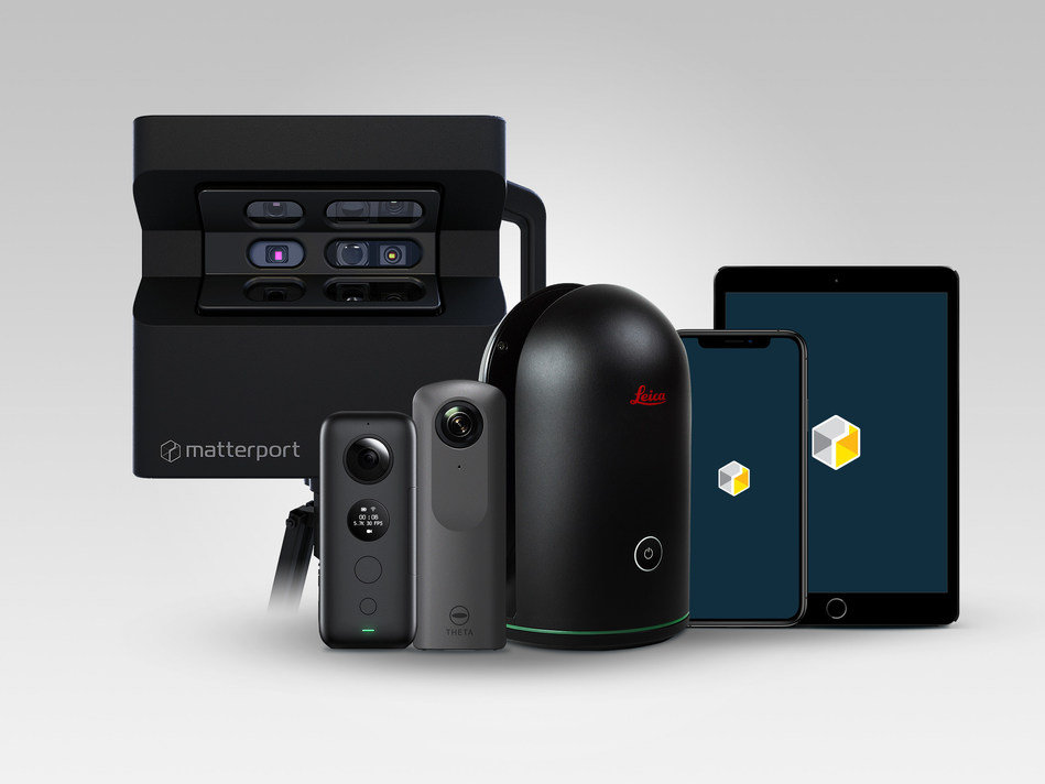 From left to right: Matterport's Flagship Pro2 camera; compatible third-party spherical lens (360-degree) cameras Insta360™ ONE X and Ricoh Theta V; Leica Geosystems' BLK360 laser scanner; iPhone and iPad showcasing Matterport Cloud 3.0 compatibility with all iOS devices.