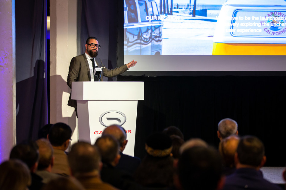 Pontus Fontaeus, Executive Design Director of the GAC Advanced Design Center Los Angeles (ADLA), gives keynote speech on introduction of ADLA and the concept car ENTRANZE at Dealer Gathering.