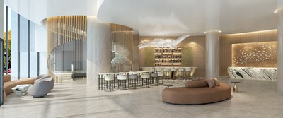 An artist rendering of the lobby of the InterContinental Hotel, which will be part of the new Avenue Bellevue luxury residential and retail development in downtown Bellevue, Washington. For more information, visit www.liveatavenue.com.