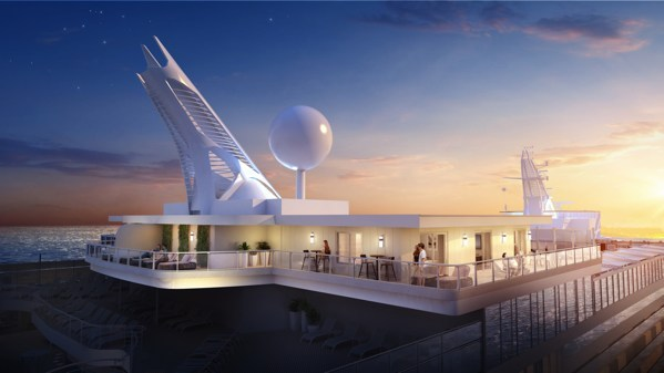 Design rendering of a new Sky Suite and adjoining balcony onboard Sky Princess.
