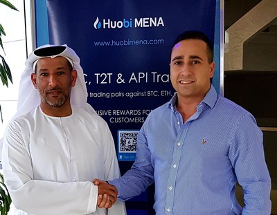 (Left to right) Sultan Bin Kharsham Al Ali, Co-Founder and Director, Huobi MENA and Anthony Khamsei, Founder and CEO, Resistance