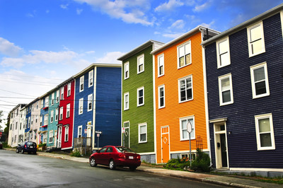 Street with colorful houses in St. John's, Newfoundland, Canada (CNW Group/WESTJET, an Alberta Partnership)