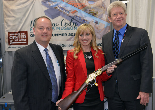 From L to R: David Miles, President of Baron Engraving; Ashley Hlebinsky, Curator of Cody Firearms Museum; Bryan Tucker, CEO of Davidson's.