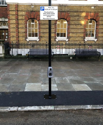 Connected Kerb's world-first roadside charging and connectivity units, Southwark, London, SE1. (PRNewsfoto/Connected Kerb)