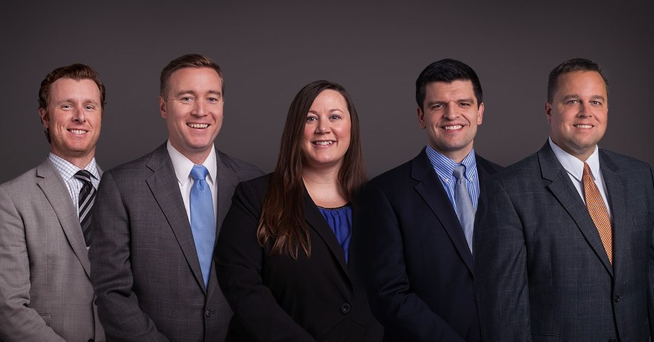 Burns & McDonnell has promoted five people to vice president, an officer-level position at the firm. The new officers are (left to right) Jamey Bertram, Chris Underwood, Alissa Schuessler, Tim Faber and Jeffrey Ganthner.