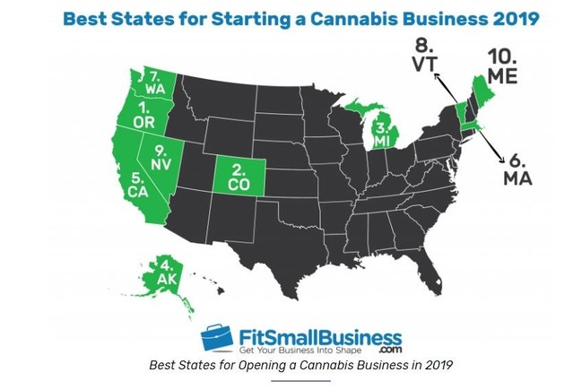 FitSmallBusiness.com's Best States to Start a Cannabis Business for 2019