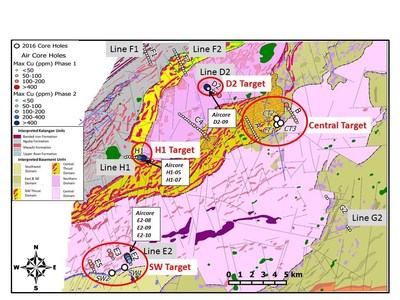 Figure 2: Plan View of Phase 1 & 2 Aircore Results (Copper ppm) & Licence Scale Magnetic Interpretation of Bedrock Geology (CNW Group/BeMetals Corp.)