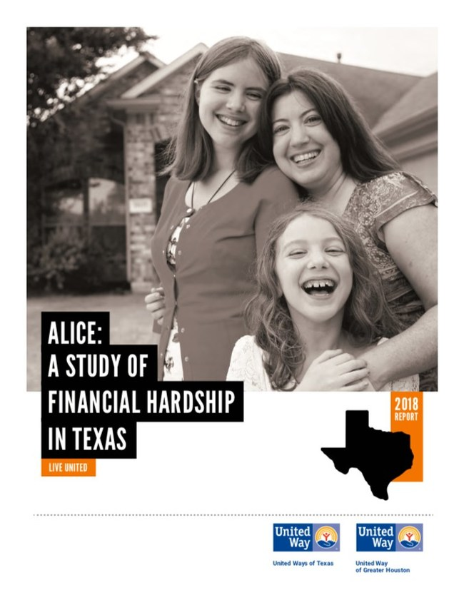 ALICE, which stands for Asset Limited, Income Constrained, Employed, places a spotlight on a large population of hardworking residents who work at low-paying jobs, have little or no savings - and are one emergency from falling into poverty.
