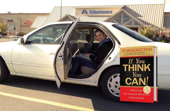 TJ Hoisington writing bestselling book in back seat of car in 2004