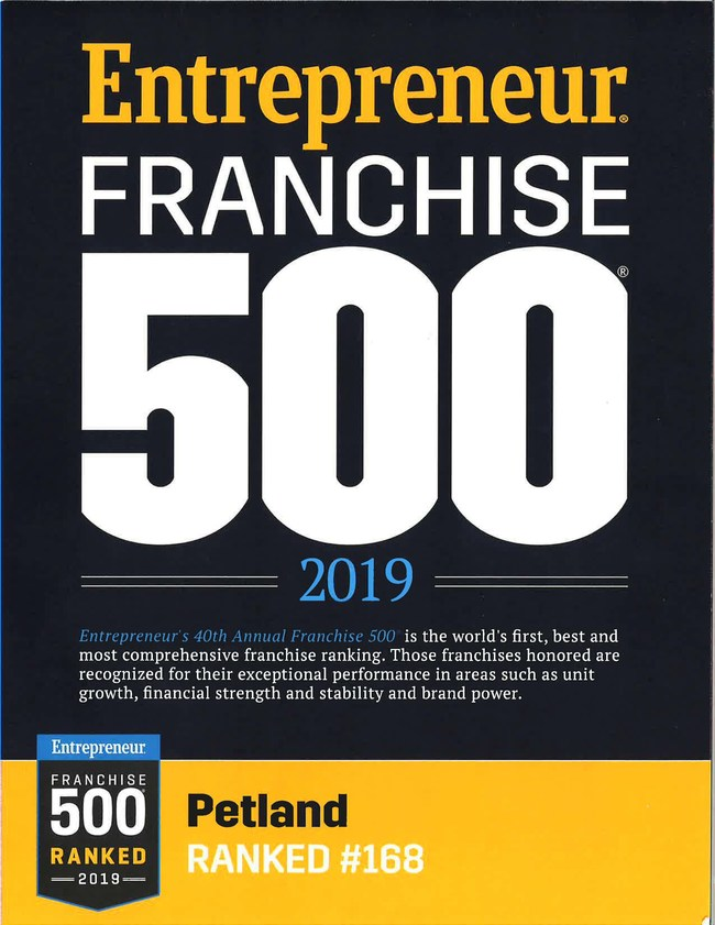 Entrepreneur Magazine positions Petland on Franchise 500 list