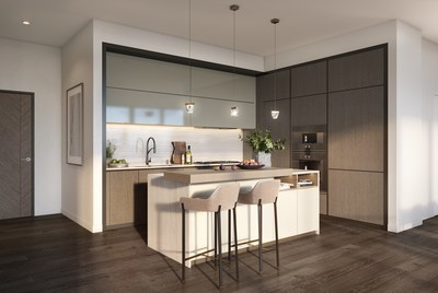 An artist rendering of a kitchen in one of the residences in the new Avenue Bellevue luxury residential, hotel and retail development in downtown Bellevue, Washington. For more information, visit www.liveatavenue.com.