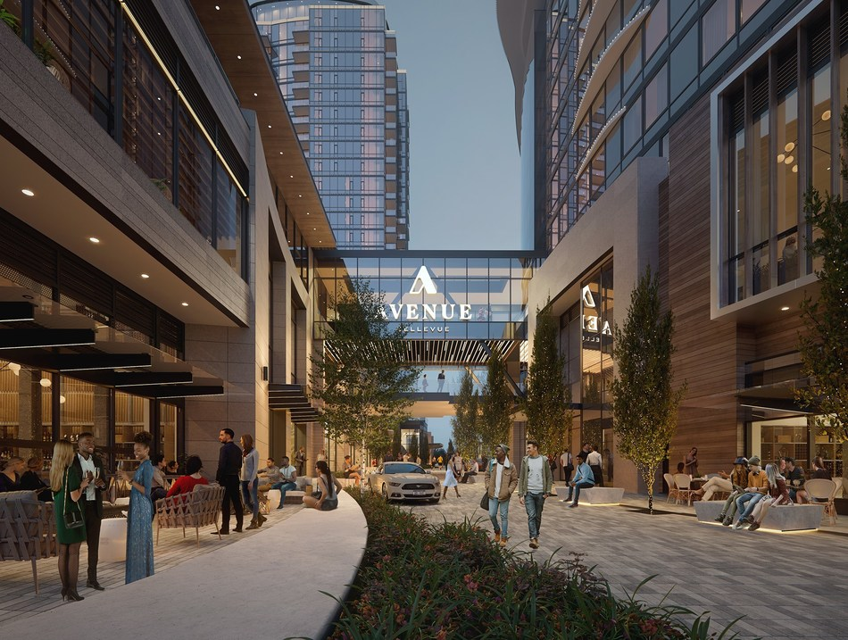 An artist rendering of the retail plaza at Avenue Bellevue, the new mixed-use development in downtown Bellevue, Washington. Avenue Bellevue will feature 332 luxury residences, a 252-room InterContinental Hotel and 85,000 square feet of high-end retail, food and nightlife – including a new restaurant from a three-Michelin-star chef. For more information, visit www.liveatavenue.com.