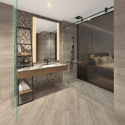 An artist rendering of a guestroom bathroom in the InterContinental Hotel, which will be part of the new Avenue Bellevue luxury residential and retail development in downtown Bellevue, Washington. For more information, visit www.liveatavenue.com.