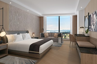 An artist rendering of a guestroom in the InterContinental Hotel, which will be part of the new Avenue Bellevue luxury residential and retail development in downtown Bellevue, Washington. For more information, visit www.liveatavenue.com.