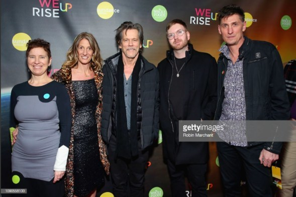 WeRiseUP Launch Event at Tao Park City. From l-r: Producer Alex Melnyk, Creator and Executive Producer Kate Maloney, Actor Kevin Bacon, Sackcloth&Ashes founder Bob Dalton, Director Michael Shaun Conaway. Credit: Getty Images