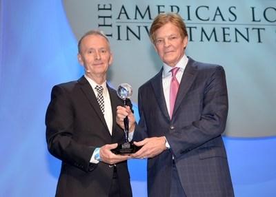 ALIS Chair James Burba (left) Presents ALIS Lifetime Achievement Award to Choice Hotels Chairman Stewart Bainum Jr. (right)