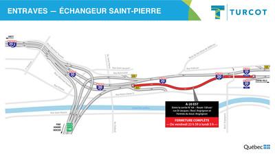 Entraves -- Échangeur Saint-Pierre (Groupe CNW/Ministère des Transports)
