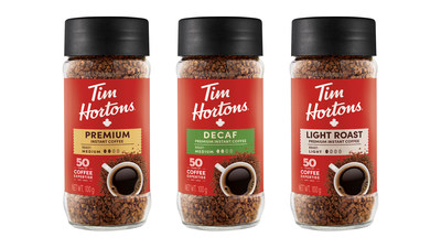Ready to drink anywhere, Tim Hortons new rich, smooth and delicious instant coffee is made with Tim Hortons own blend of 100% Arabica coffee beans and available in Medium, Decaf and Light Roast. (CNW Group/Tim Hortons)