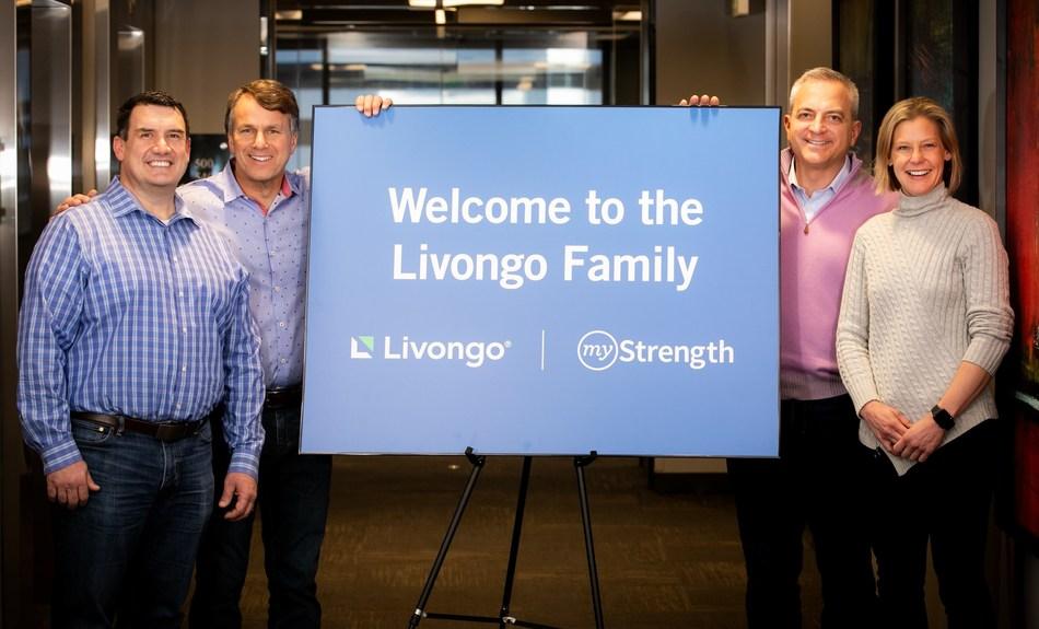 myStrength President and Co-Founder Matt Sopcich, Livongo Executive Chairman Glen Tullman, myStrength CEO and Co-Founder Scott Cousino, and Livongo President Dr. Jennifer Schneider